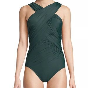 NWT MIRACLESUIT One Piece Crisscross Front Swim